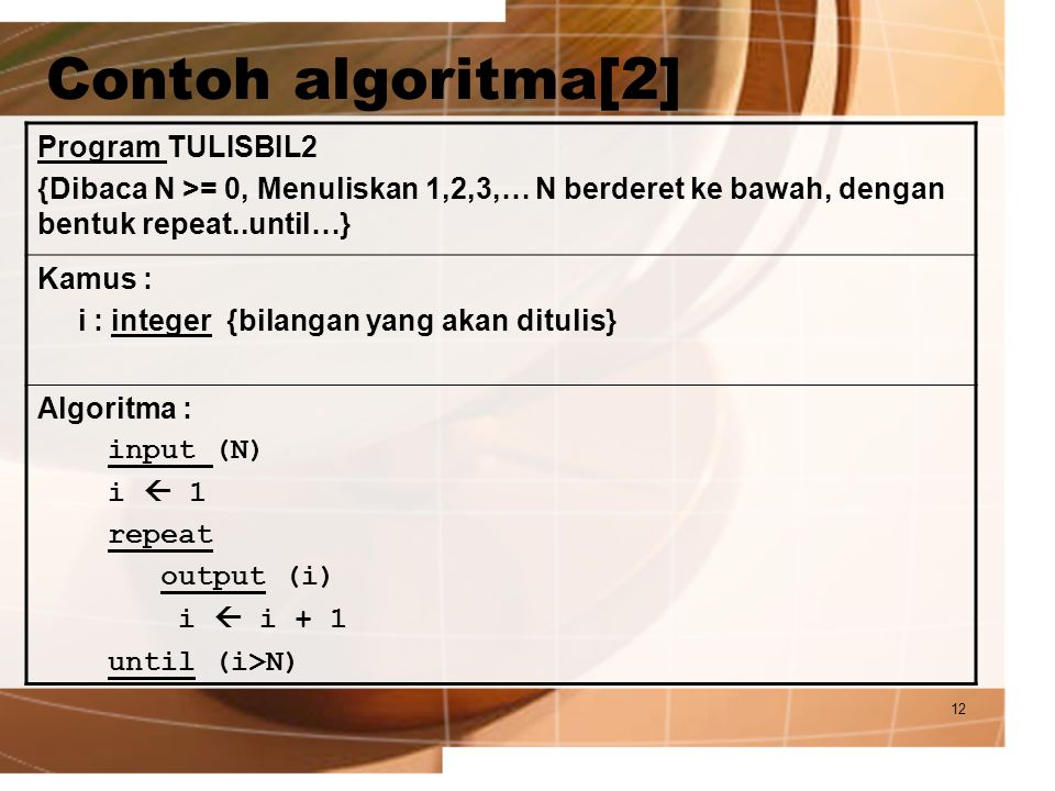 Contoh algoritma[2] Program TULISBIL2